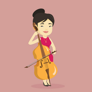 Young happy asian musician playing cello. Cellist playing classical music on cello. Young smiling female musician with cello and bow. Vector flat design illustration. Square layout.