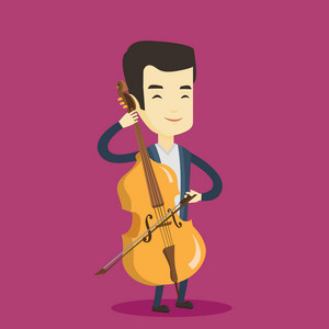 Young happy asian musician playing cello. Cellist playing classical music on cello. Young smiling musician with cello and bow. Vector flat design illustration. Square layout.