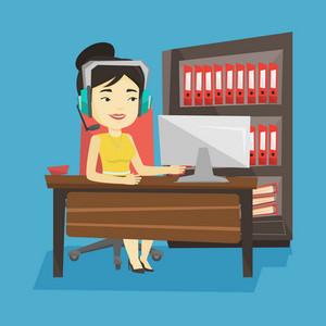 Young happy asian woman using computer for playing games. Cheerful woman in headphones playing online games. Smiling woman playing computer game. Vector flat design illustration. Square layout.