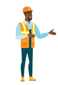 Young happy builder gesturing. Full length of cheerful builder gesturing with his hands. African-american builder laughing and gesturing. Vector flat design illustration isolated on white background.
