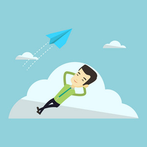 Young happy business man lying on a cloud and looking at flying paper plane. Asian business man relaxing on a cloud. Business man resting on a cloud. Vector flat design illustration. Square layout.