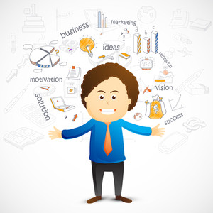 Young happy business man opening their hands with various colorful business infographic elements.