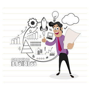 Young happy Businessman holding paper on infographic elements decorated notebook paper background.