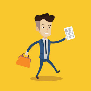 Young happy businessman running with a briefcase and a document in hands. Concept of success in business. Vector flat design illustration. Square layout.