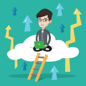 Young happy businessman sitting on a cloud with a laptop on the background of arrows going up. Cheerful businessman working on a laptop on a cloud. Vector flat design illustration. Square layout.
