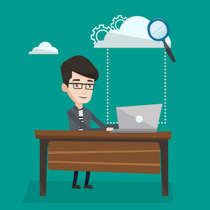 Young happy businessman working on a laptop and cloud, magnifier and gears above him. Cloud computing and technology concept. Vector flat design illustration. Square layout.
