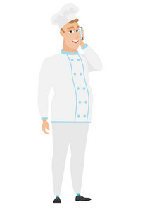 Young happy caucasian chef cook in uniform talking on a mobile phone. Smiling chef cook talking on a cell phone. Vector flat design illustration isolated on white background.