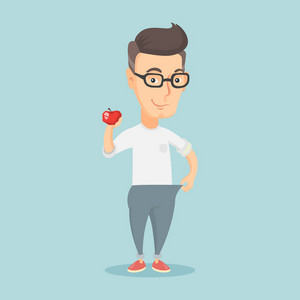 Young happy caucasian man on a diet. Slim smiling man in oversized trousers showing the results of his diet. Concept of dieting and healthy lifestyle. Vector flat design illustration. Square layout.