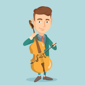 Young happy caucasian musician playing cello. Cellist playing classical music on cello. Young smiling male musician with cello and bow. Vector flat design illustration. Square layout.