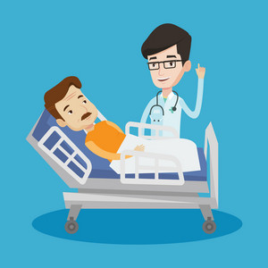 Young happy doctor with stethoscope visiting male patient at hospital. Doctor pointing finger up during consultation with patient lying in hospital bed. Vector flat design illustration. Square layout.