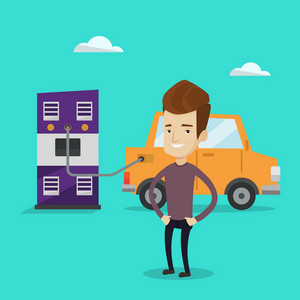 Young happy man charging electric car at charging station. Cheerful man standing near power supply for electric car charging. Vector flat design illustration. Square layout.