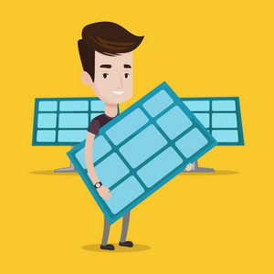 Young happy man holding solar panel in hands. Man with solar panel in hands standing on background of solar power plant. Green energy concept. Vector flat design illustration. Square layout.