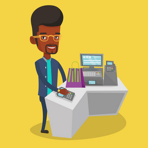 Young happy man paying wireless with his smart watch at the checkout counter. African-american customer making payment for purchase with smart watch. Vector flat design illustration. Square layout.