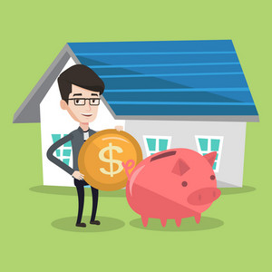 Young happy man putting dollar coin in piggy bank. Cheerful man standing on a background of house. Concept of saving and investing money in real estate. Vector flat design illustration. Square layout.