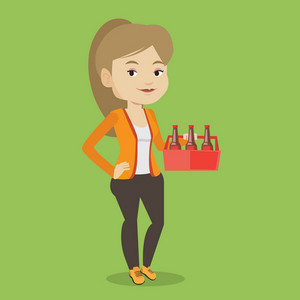 Young happy woman holding pack of beer. Full length of cheerful woman carrying a six pack of beer. Caucasian smiling woman buying beer. Vector flat design illustration. Square layout.