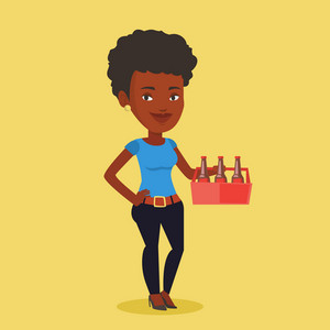 Young happy woman holding pack of beer. Full length of cheerful woman carrying a six pack of beer. Vector flat design illustration. Square layout.