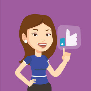 Young happy woman pressing like button. Caucasian woman pressing modern social button with thumb up. Smiling woman pressing social network like button. Vector flat design illustration. Square layout.