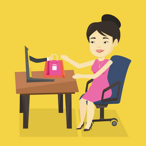 Young happy woman shopping online. Smiling woman making online order in virtual shop. Cheerful asian woman using laptop for online shopping. Vector flat design illustration. Square layout.