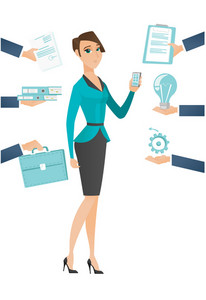 Young hard working business woman. Hard working business woman surrounded by many hands that give her a lot of work. Hard working concept. Vector flat design illustration isolated on white background.