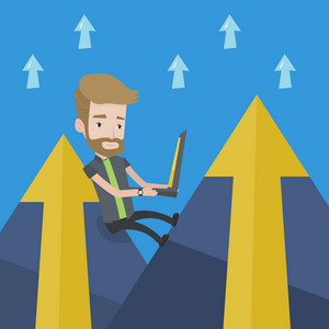Young hipster businessman with the beard working on laptop on the mountain. Successful businessman sitting on the top of the mountain and using laptop. Vector flat design illustration. Square layout.