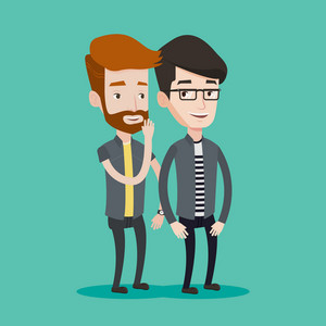 Young hipster caucasian man with the beard shielding his mouth and whispering a gossip in an ear of his friend. Two happy men sharing with secret news. Vector flat design illustration. Square layout.