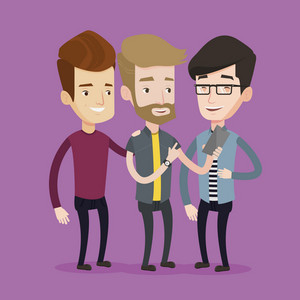 Young hipster guy with the beard showing something to his friends on his mobile phone. Three happy caucasian friends looking at smartphone and laughing. Vector flat design illustration. Square layout.