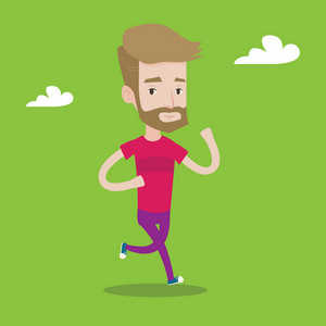 Young hipster man with the beard running. Male runner jogging. Full length of a male athlete running. Sportsman in sportswear running. Vector flat design illustration. Square layout.