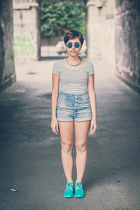 young hipster woman in the city