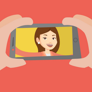 Young joyful caucasian woman making selfie. Smiling woman making selfie with cellphone. Woman taking selfie. Vector flat design illustration. Square layout.