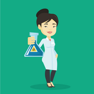 Young laboratory assistant holding a flask with biohazard sign. Asian laboratory assistant in medical gown showing a flask with biohazard sign. Vector flat design illustration. Square layout.