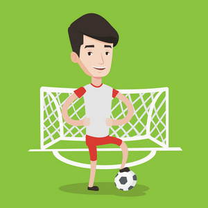 Young male sportsman standing with football ball on the football stadium. Happy professional football player standing with a soccer ball on the field. Vector flat design illustration. Square layout.