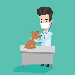 Young male veterinarian examining dog in hospital. Veterinarian checking heartbeat of a dog with stethoscope. Concept of medicine and pet care. Vector flat design illustration. Square layout.