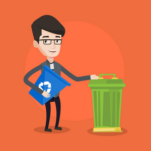 Young man carrying recycling bin. Man holding recycling bin while standing near a trash can. Vector flat design illustration. Square layout.