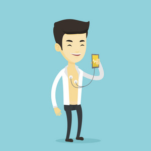 Young man checking his blood pressure with smartphone application. Man taking care of his health and measuring heart rate pulse with smartphone app. Vector flat design illustration. Square layout.