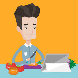 Young man cutting fresh healthy vegetables for salad. Man following recipe for organic salad on digital tablet. Man cooking healthy vegetable salad. Vector flat design illustration. Square layout.