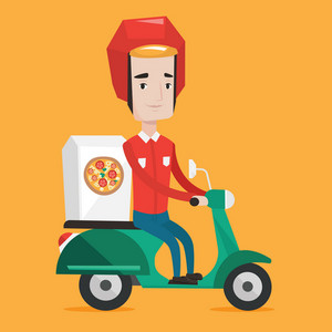 Young man delivering pizza on scooter. Courier driving a motorbike and delivering pizza. Worker of delivery service of pizza. Concept of food delivery. Vector flat design illustration. Square layout.