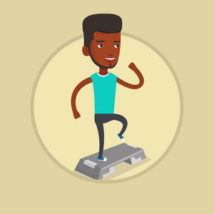 Young man doing step exercises. Man training with stepper in the gym. Man working out with stepper. Sportsman standing on stepper. Vector flat design illustration in the circle isolated on background.