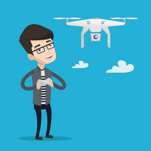 Young man flying drone with remote control. Man operating a drone with remote control. Man controling a drone. Vector flat design illustration. Square layout.