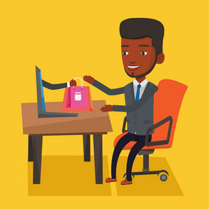 Young man getting shopping bags from laptop. Man making online order in virtual shop. Cheerful african-american man using laptop for online shopping. Vector flat design illustration. Square layout.
