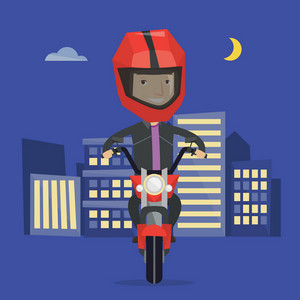 Young man in helmet riding a motorcycle on the background of night city. Man driving a motorbike on a city road. Happy man riding a motorcycle at night. Vector flat design illustration. Square layout.