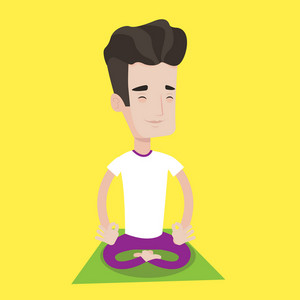Young man meditating in yoga lotus pose. Man relaxing in the yoga lotus position. Man doing yoga. Vector flat design illustration. Square layout.