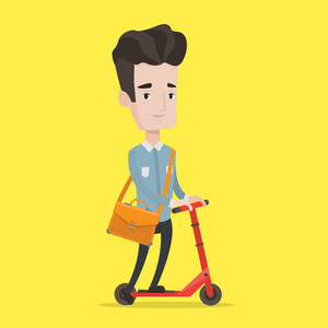 Young man riding a kick scooter. Businessman with briefcase riding to work on scooter. Man on kick scooter. Vector flat design illustration. Square layout.