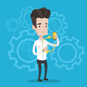 Young man showing his smartphone and smart watch on a blue background with cogwheels. Concept of synchronization between smartwatch and smartphone. Vector flat design illustration. Square layout.