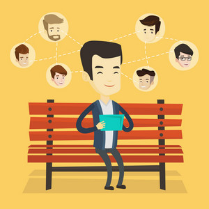 Young man sitting on a bench and using a tablet computer with network avatar icons above. Man surfing in the social network. Social network concept. Vector flat design illustration. Square layout.