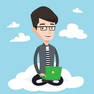 Young man sitting on a cloud with a laptop on his knees. Man using cloud computing technology. Man working on computer. Concept of cloud computing . Vector flat design illustration. Square layout.