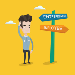 Young man standing at road sign with two career pathways - entrepreneur and employee. Man choosing career pathway. Man making a decision of his career. Vector flat design illustration. Square layout.