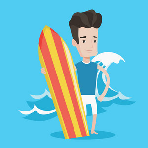 Young man standing with a surfboard on the beach. Professional surfer with a surf board at the beach. Surfer standing on a background of huge sea wave. Vector flat design illustration. Square layout.