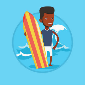 Young man standing with a surfboard on the beach. Surfer with a surf board on the beach. Surfer standing on the background of wave. Vector flat design illustration in the circle isolated on background