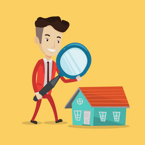 Young man using a magnifying glass for looking for a new house. Businessman with a magnifying glass checking a house. Man analyzing house with loupe. Vector flat design illustration. Square layout.