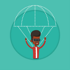 Young man wearing virtual reality glasses and flying with parachute. Man in vr headset having fun while flying in virtual reality. Vector flat design illustration in the circle isolated on background.